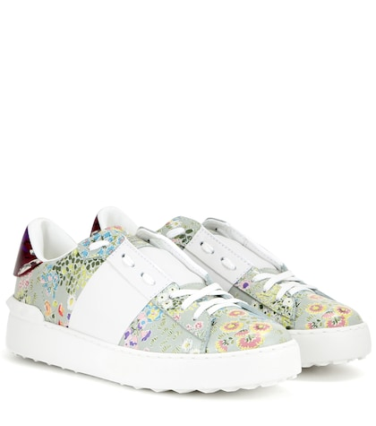Open Printed Leather Sneakers