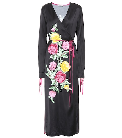 Grace printed satin wrap dress