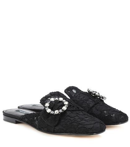 Jackie embellished lace slippers