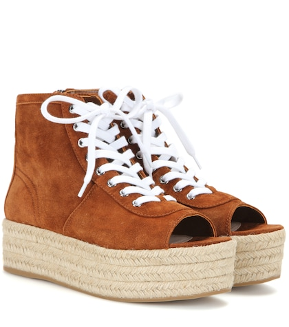 Suede espadrille-style platform sneakers