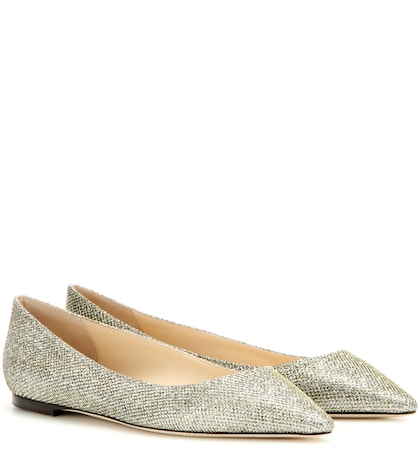 jimmy choo female romy glitter ballerinas