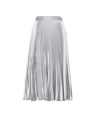 Embellished Metallic Pleated Skirt