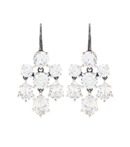 Crystal-embellished silver earrings
