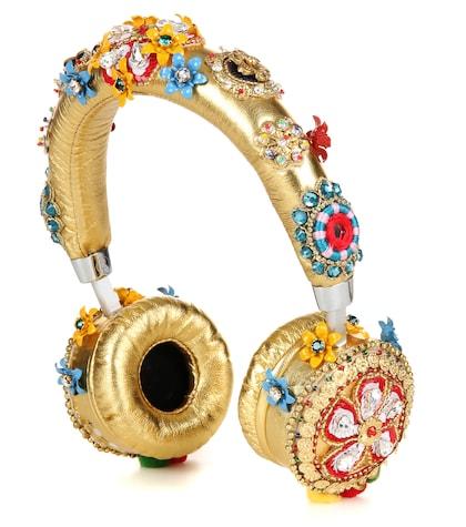 dolce gabbana female exclusive to mytheresacom embellished metallic leather headphones
