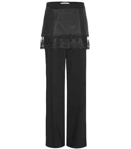 Lace-trimmed jersey trousers