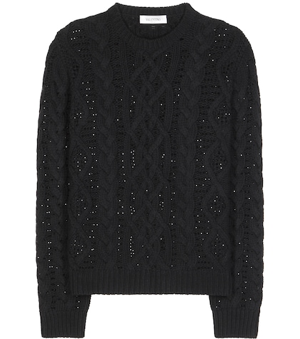 Crystal-embellished Cable-knit Wool And Cashmere Sweater