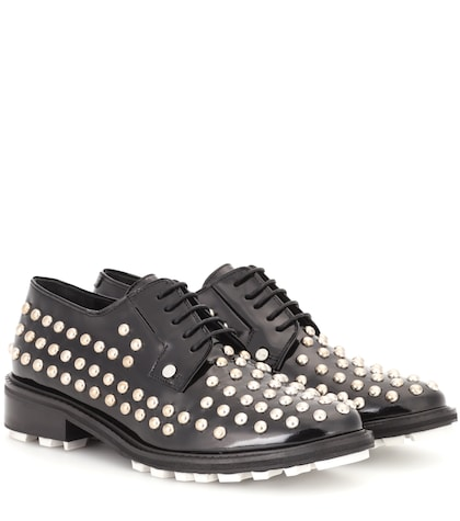 Embellished patent leather derby shoes