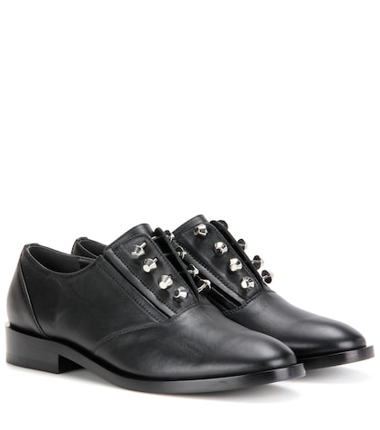 Embellished Leather Oxford Shoes