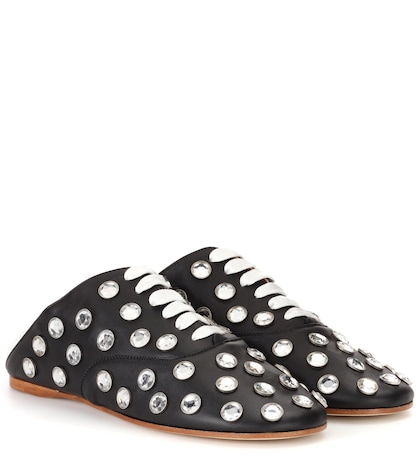 Mika Stone leather lace-up slippers