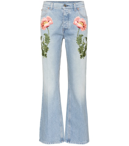 Embroidered flared jeans