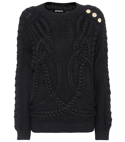 Wool cable-knit sweater