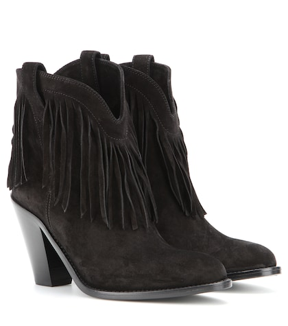 saint laurent female new western fringed suede leather ankle boots