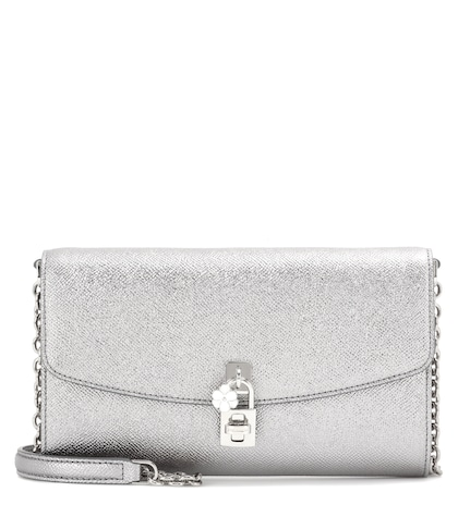 dolce gabbana female dolce pochette metallic leather shoulder bag