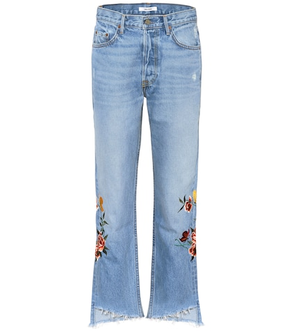Helena embroidered cropped jeans