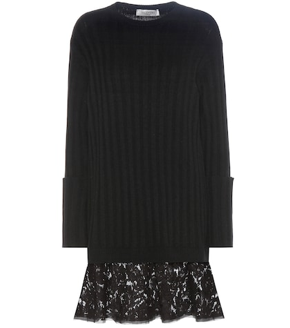 Lace-trimmed Virgin Wool And Cashmere Sweater Dress
