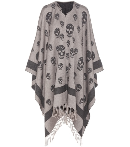 alexander mcqueen female wool and cashmere cape