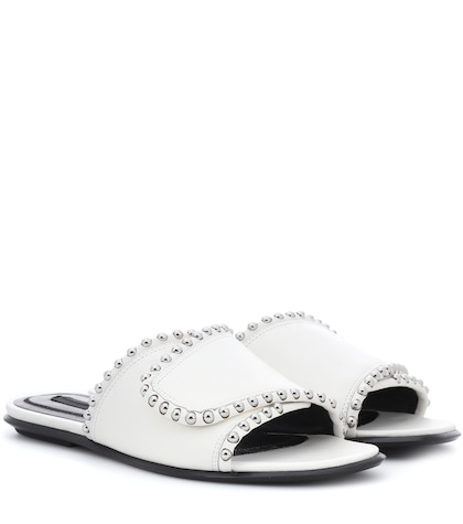 alexander wang female leather slides