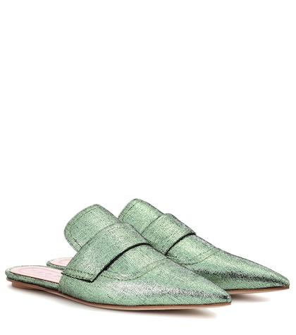Sabot metallic leather slippers