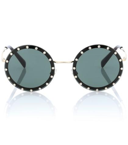 Crystal-embellished round sunglasses