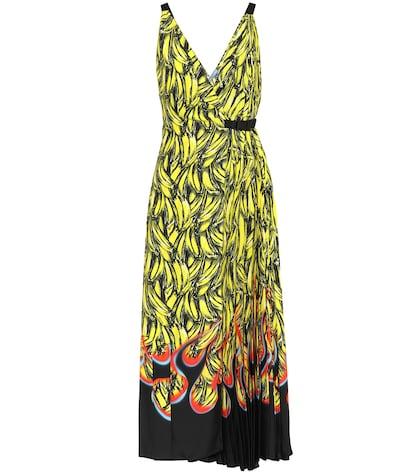 Banana-printed wrap dress