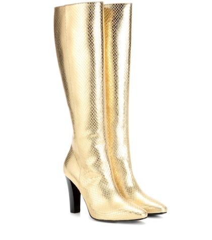 saint laurent female lily 95 metallic leather boots