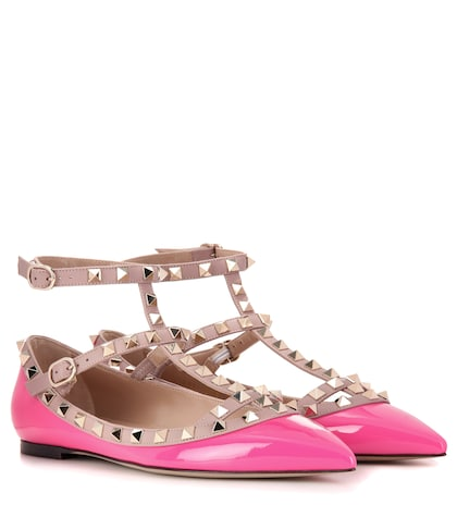 Rockstud Patent Leather Ballerinas