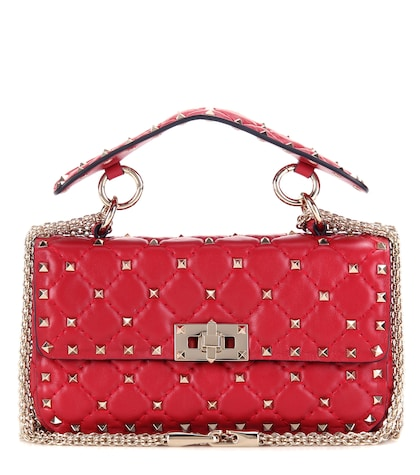 Rockstud Spike Small Quilted Leather Handbag