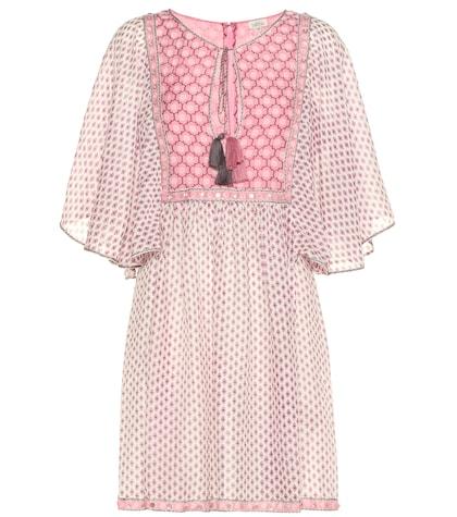 Trellis printed silk and cotton dress