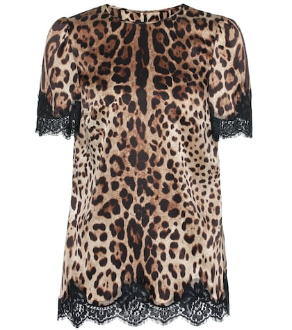 Leopard-printed satin top