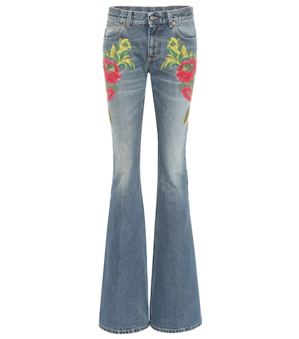 Embroidered flare jeans