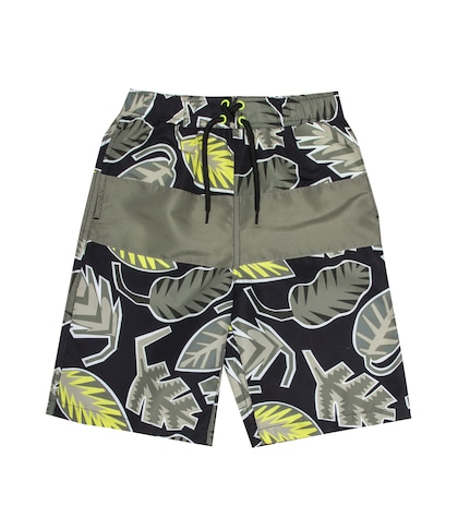 Leaf-printed swim shorts