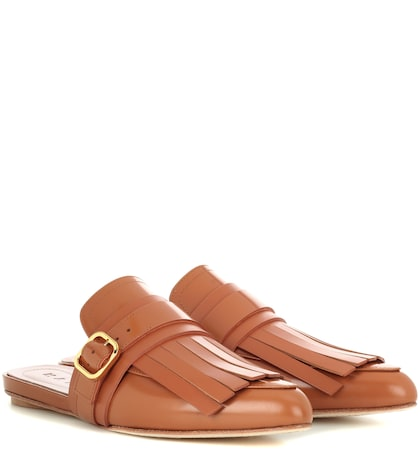 Fringed Leather Slippers