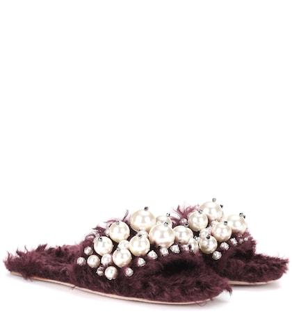 Embellished faux fur slippers