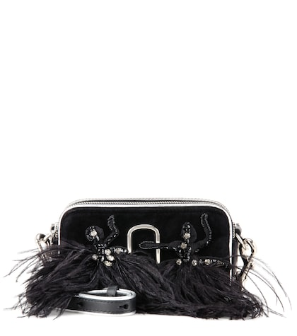 marc jacobs female snapshot small camera velvet crossbody bag