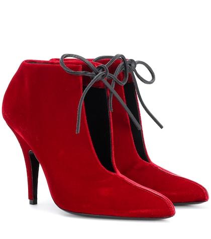 Ellipse velvet ankle boots