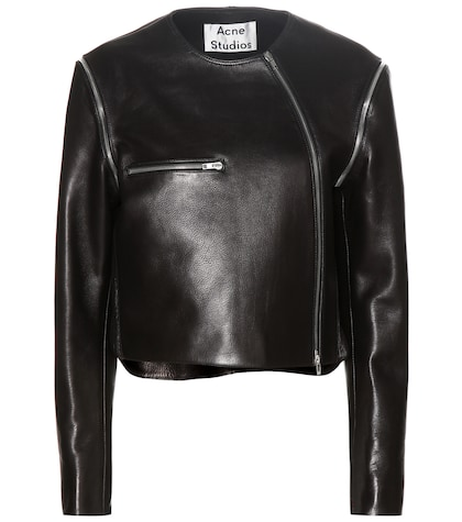 acne studios female marrau cropped black leather jacket