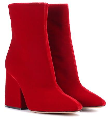 Velvet ankle boots