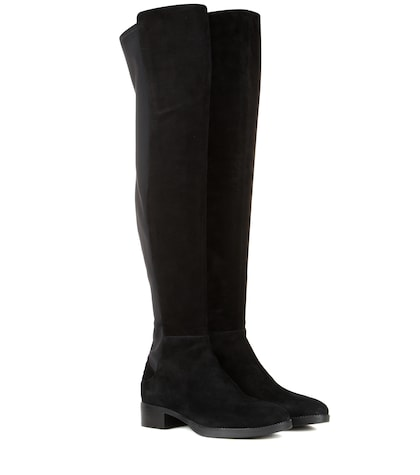 Caitlin Suede And Fabric Over-the-knee Boots