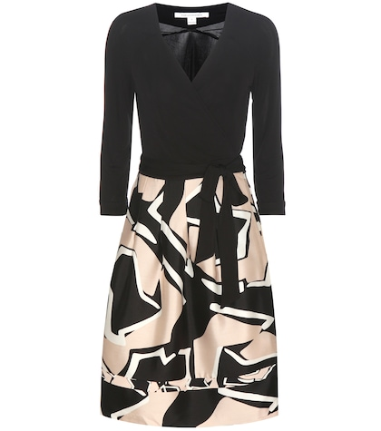 New Jewel Wool And Silk Printed Wrap Dress