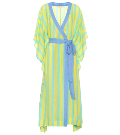 Striped linen-blend robe