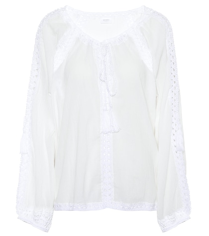 Giza lace-trimmed cotton top