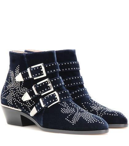 Susanna studded velvet ankle boots