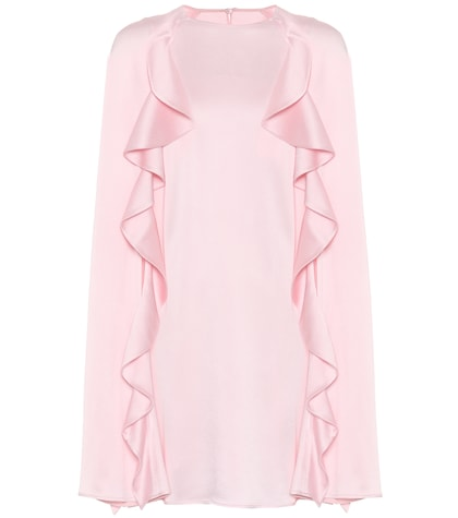 Hammered satin cape dress