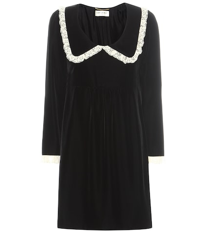 Lace-trimmed Velvet Dress