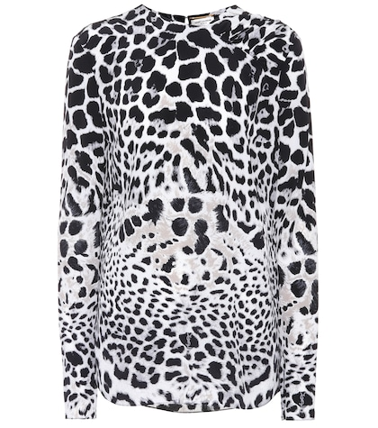 Leopard-printed silk top