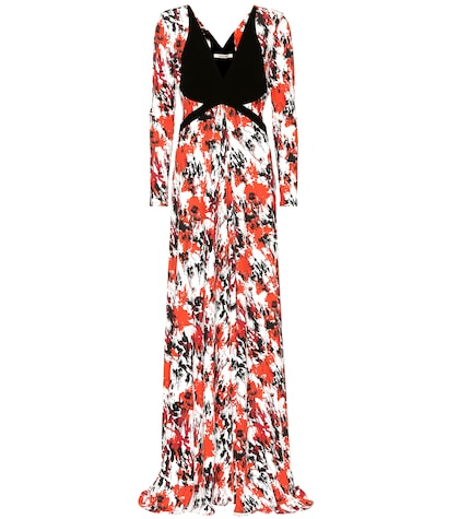 Printed stretch jersey gown