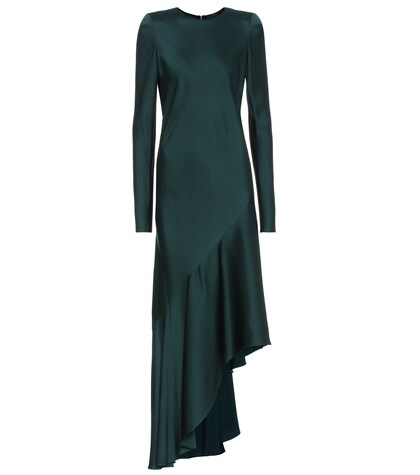 Long-sleeved satin dress