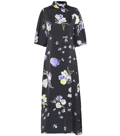 Dilona floral-printed satin dress