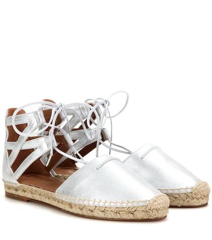 aquazzura female 45900 belgravia metallic leather espadrille sandals