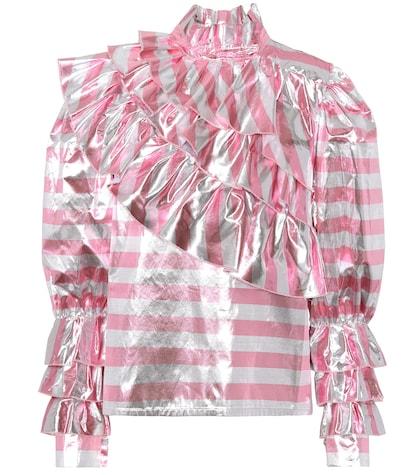 Striped metallic ruffle top